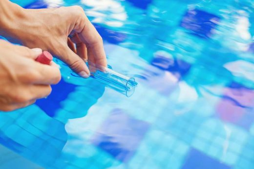 Analyzing,Of,A,Water,From,Swimming,Pool,,Taking,Water,Sample